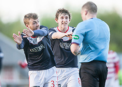 Falkirk's Rory Loy and Blair Alston shout for a penalty.<br /> Falkirk 1 v 1 Hamilton, Scottish Premiership play-off semi-final first leg, played 13/5/2014 at the Falkirk Stadium.