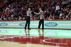 17 February 2018:  Jeff Malham tells Dan Muller to get back to his bench during a College mens basketball game between the University of Northern Iowa Panthers and Illinois State Redbirds in Redbird Arena, Normal IL