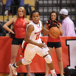 Feb 24, 2009; Piscataway, NJ, USA; Rutgers guard Epiphanny Prince (10) turns the ball up court during the second half of Rutgers' 71-52 victory over Cincinnati at the Louis Brown Athletic Center.