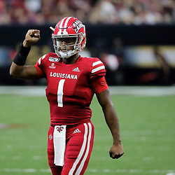 Aug 31, 2019; New Orleans, LA, USA; Louisiana-Lafayette Ragin Cajuns quarterback Levi Lewis (1) celebrates after a touchdown against the Mississippi State Bulldogs during the first half at the Mercedes-Benz Stadium. Mandatory Credit: Derick E. Hingle-USA TODAY Sports