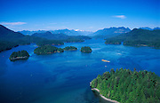 Aerial view from Tofino Air tour of Clayoquot Sound & interior mountains; Vancouver Island, British Columbia, Canada.