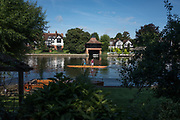 "Maidenhead, United Kingdom. Pre Racing Practice, Double. ""Thames Punting Club Regatta"", Bray Reach.<br />