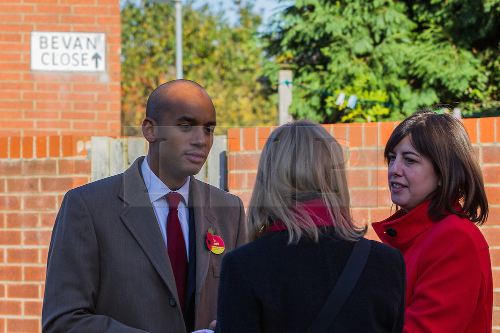 © Licensed to London News Pictures . 27/10/2012 . Manchester , UK . Chuka Umunna (left) and Lucy Powell (right) campaigning for Labour on Bevan Close in East Manchester . The Shadow Business Secretary and MP for Streatham , Chuka Umunna , joins Lucy Powell's campaign trail as she bids to become Manchester Central's first woman MP today (27th October 2012) . Photo credit : Joel Goodman/LNP