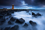 The Risk of Darkness, Stafnesviti lighthouse in Reykjanes peninsula, west Iceland