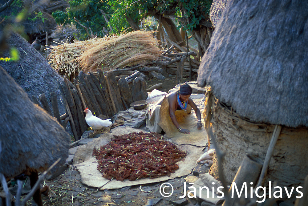 A woman in a Konso village preparing sorghum in the Omo region of Ethiopia, Africa.