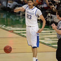 Mar 31, 2012; New Orleans, LA, USA; Kentucky Wildcats forward Anthony Davis (23) celebrates after defeating the Louisville Cardinals 69-61 in the semifinals of the 2012 NCAA men's basketball Final Four at the Mercedes-Benz Superdome. Mandatory Credit: Derick E. Hingle-US PRESSWIRE