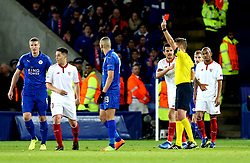 Samir Nasri of Sevilla is sent off - Mandatory by-line: Robbie Stephenson/JMP - 14/03/2017 - FOOTBALL - King Power Stadium - Leicester, England - Leicester City v Sevilla - UEFA Champions League round of 16, second leg