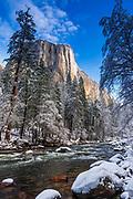 El Capitan above the Merced River in winter, Yosemite National Park, California USA