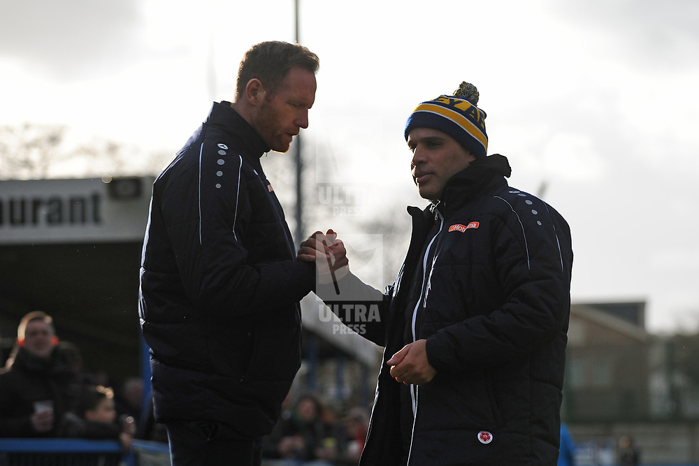 TELFORD COPYRIGHT MIKE SHERIDAN Gavin Cowan and Marcus Bignot during the Vanarama Conference North fixture between Guiseley and AFC Telford United at Nethermoor Park on Saturday, February 8, 2020.<br /> <br /> Picture credit: Mike Sheridan/Ultrapress<br /> <br /> MS201920-046