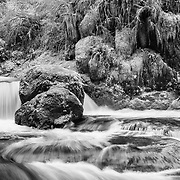 Sweet Creek Boulders - Mapleton, Oregon - Infrared Black & White