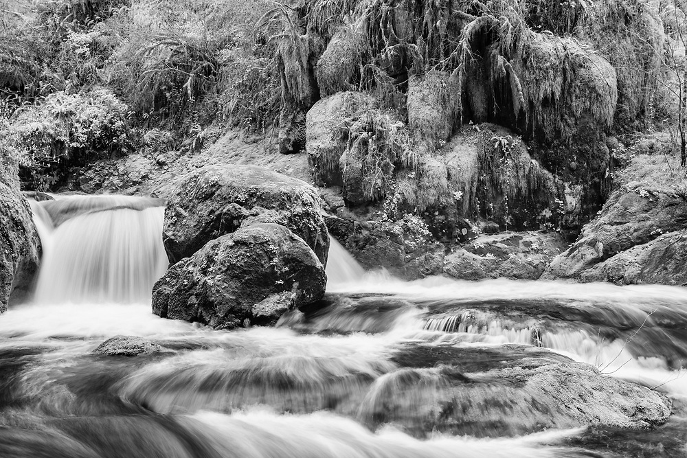 Sweet Creek Boulders - Mapleton, Oregon - Infrared Black & White