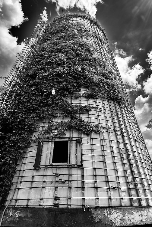 Silo composition at the abandoned Link Taylor Furniture plant in Lexington, North Carolina.
