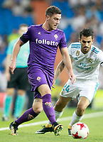 Real Madrid's Dani Ceballos (r) and ACF Fiorentina's Jordan Veretout during Santiago Bernabeu Trophy. August 23,2017. (ALTERPHOTOS/Acero)