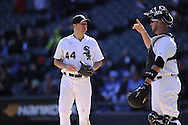 CHICAGO - APRIL 03:  Jake Peavy #44 talks to Tyler Flowers #21 of the Chicago White Sox during the game against the Kansas City Royals on April 3, 2013 at U.S. Cellular Field in Chicago, Illinois.  The White Sox defeated the Royals 5-2.  (Photo by Ron Vesely)   Subject: Jake Peavy; Tyler Flowers