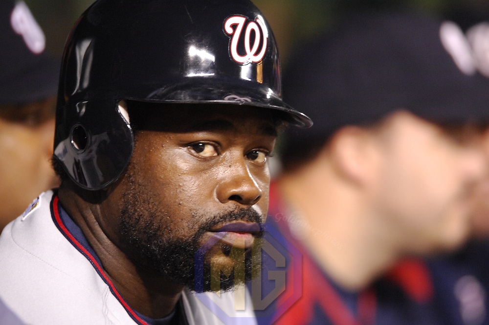 14 June 2007:  Washington Nationals first baseman Dmitri Young (21) in action against the Baltimore Orioles.  The Nationals defeated the Orioles 3-1 in inter-league play to sweep the three game series at Camden Yards in Baltimore, MD.   ****For Editorial Use Only****