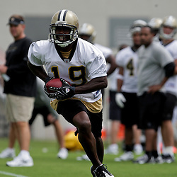 05 June 2009: Saints receiver Devery Henderson (19) participates in drills during the New Orleans Saints Minicamp held at the team's practice facility in Metairie, Louisiana.