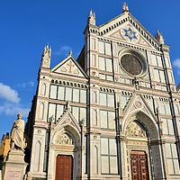 Basilica of Santa Croce in Florence, Italy<br /> The Franciscans built this beautiful Basilica of Santa Croce from 1294 through 1442. At the apex of the marble façade is the Star of David. Inside is a stunning array of frescos. This Roman Catholic church is also known as the Temple of the Italian Glories. The elite of Florence were buried here for five centuries. Among the tombs are the remains of Michelangelo and Galileo.