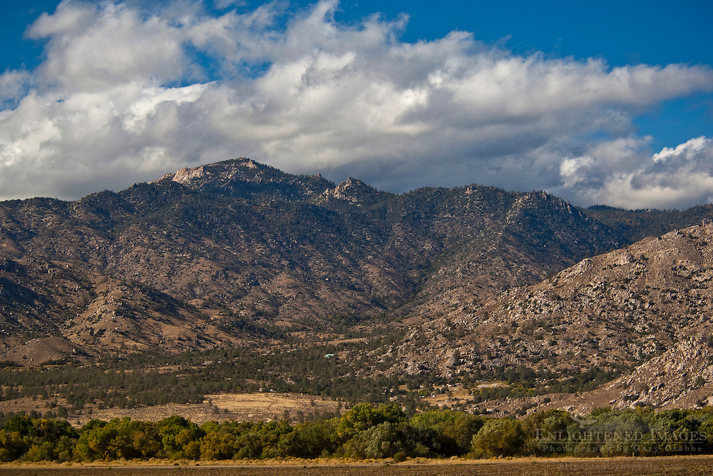 Clouds over rugged hills near Weldon, Kern County, California