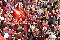 Un fumogeno viene lanciato sui tifosi del Torino in curva Primavera<br /> Fireworks thrown on Torino supporters.  Before the match, Torino fans attacked the Juventus bus breaking a window<br /> Torino 26-04-2015, Stadio Olimpico, Football Calcio 2014/2015 Serie A TIM, Torino - Juventus, Foto Insidefoto