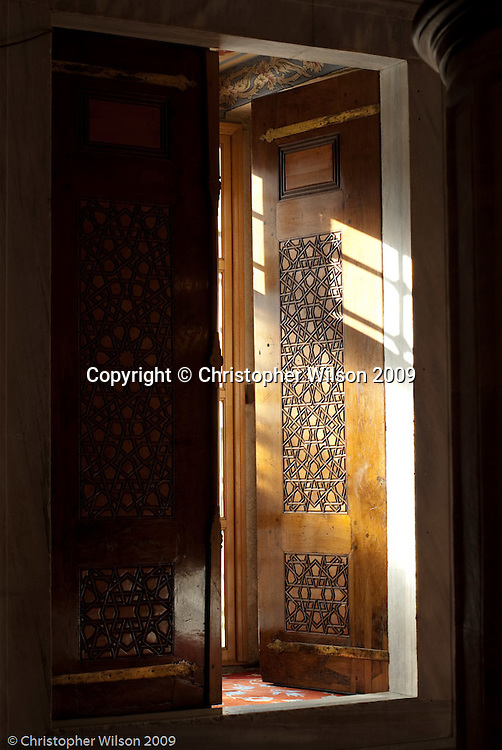 An interior wooden door in the Blue Mosque, Istanbul, Turkey.