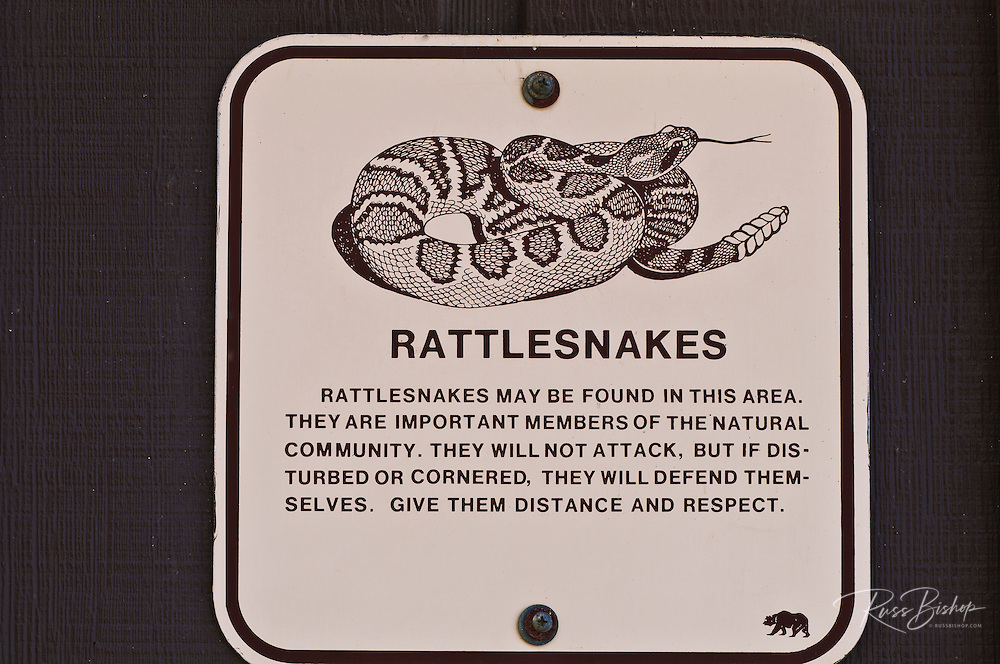 Rattlesnake warning sign,Andrew Molera State Park, Big Sur, California