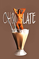 A nude woman standing in a chocolate milkshake isn't something you see every day, to be sure. This unique piece of fine acrylics art can create a variety of different impressions, depending on your perspective. The woman has her hands above her head. Her closed eyes are tilted towards the sky, and she has a look on her face that one could describe as quiet ecstasy. This is not an overtly sexual piece of art, but there is something provocative about it all the same. This unique piece of pop art can be enjoyed by almost anyone who appreciates the truly unique.