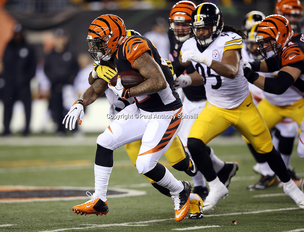 Cincinnati Bengals running back Jeremy Hill (32) is chased by Pittsburgh Steelers outside linebacker Jarvis Jones (95) as he runs the ball in the first quarter during the NFL AFC Wild Card playoff football game against the Pittsburgh Steelers on Saturday, Jan. 9, 2016 in Cincinnati. The Steelers won the game 18-16. (©Paul Anthony Spinelli)