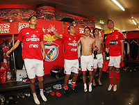 20100509: LISBON, PORTUGAL - SL Benfica vs Rio Ave: Portuguese League 2009/2010, 30th round. Players celebrations in the locker room. In picture: Oscar Cardozo, Maxi Pereira, Javier Saviola, Pablo Aimar and Javi Garcia. PHOTO: CITYFILES