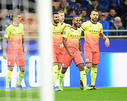 MILAN, Nov. 7, 2019  Manchester City's players celebrate during the UEFA Champions League Group C football match between Atalanta and Manchester City in Milan, Italy, Nov. 6, 2019. (Photo by Alberto LingriaXinhua) (Credit Image: © Xinhua via ZUMA Wire)