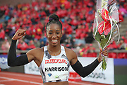 Keni Harrison aka Kendra Harrison (USA) poses after winning the women's 100m hurdles in 12.52 during the Bauhaus-Galan in a IAAF Diamond League meet at Stockholm Stadium in Stockholm, Sweden on Thursday, May 30, 2019. (Jiro Mochizuki/Image of Sport)