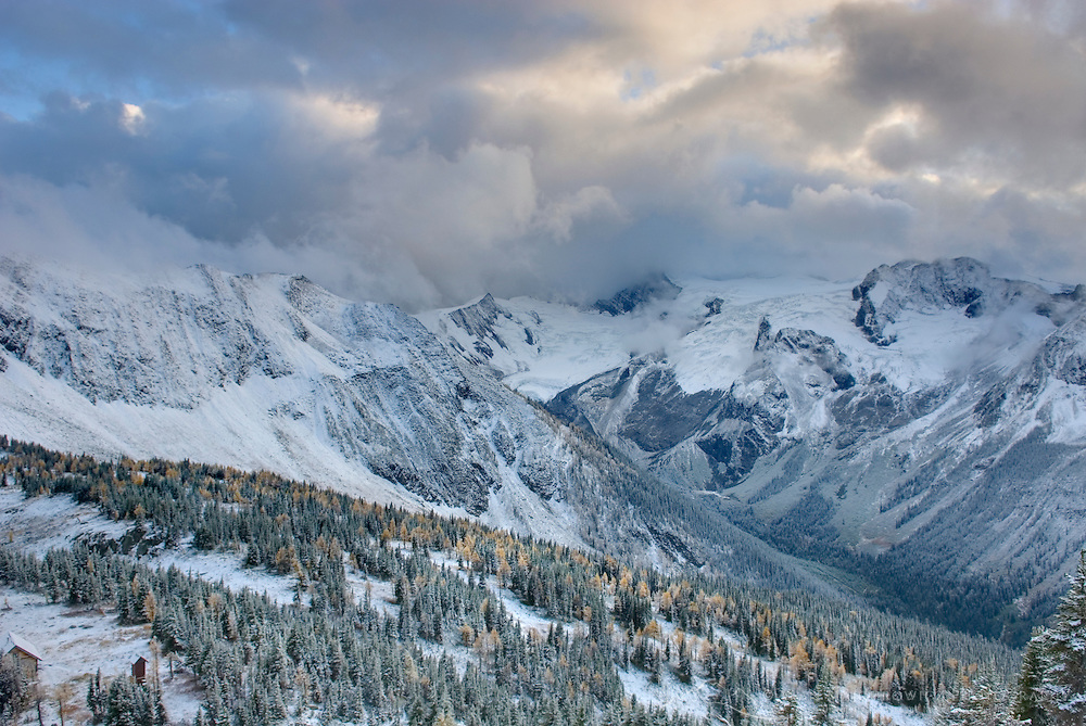 Clearing autumn storm over the Truce Group and Glacier Creek Valley, Purcell Mountains British Columbia Canada