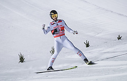 12.01.2019, Stadio del Salto, Predazzo, ITA, FIS Weltcup Skisprung, Val di Fiemme, Herren, 2. Wertungsdurchgang, im Bild Manuel Fettner (AUT) // Manuel Fettner of Austria reacts after his 2nd Competition Jump for the Four Hills Tournament of FIS Ski Jumping World Cup at the Stadio del Salto in Predazzo, Itali on 2019/01/12. EXPA Pictures © 2019, PhotoCredit: EXPA/ JFK