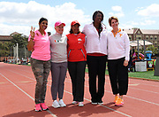 Mar 24, 2018; Los Angeles, CA, USA; Southern California Trojans coach Caryl Smith Gilbert and Miami Hurricanes coach iami's Amy Deem and Ohio State Buckeyes coach Karen Dennis and Mississippi Rebels coach Connie Price-Smith and Tennessee Volunteers coach Berth Alford-Sullivan pose during the Power 5 Trailblazer challenge at Cromwell Field. The five are the only women head coaches of a Power 5 Conference men's and women's program.