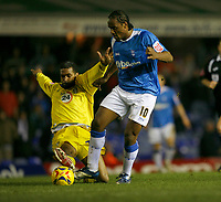 Cameron Jerome of Birmingham (right) is tackled by Rui Maarques (left0