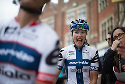 Lotta Lepistö (FIN) of Cervélo-Bigla Cycling Team celebrates her win of the Aviva Women's Tour 2016 - Stage 5. A 113.2 km road race from Northampton to Kettering, UK on June 19th 2016.