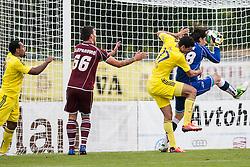 Zan Pelko of NK Triglav and Nusmir Fajic of NK Maribor during football match between NK Triglav Kranj and NK Maribor, 7th Round of Prva Liga, on 24 August, 2013, in Sportni center Kranj, Slovenia. (Photo by Grega Valancic / Sportida)