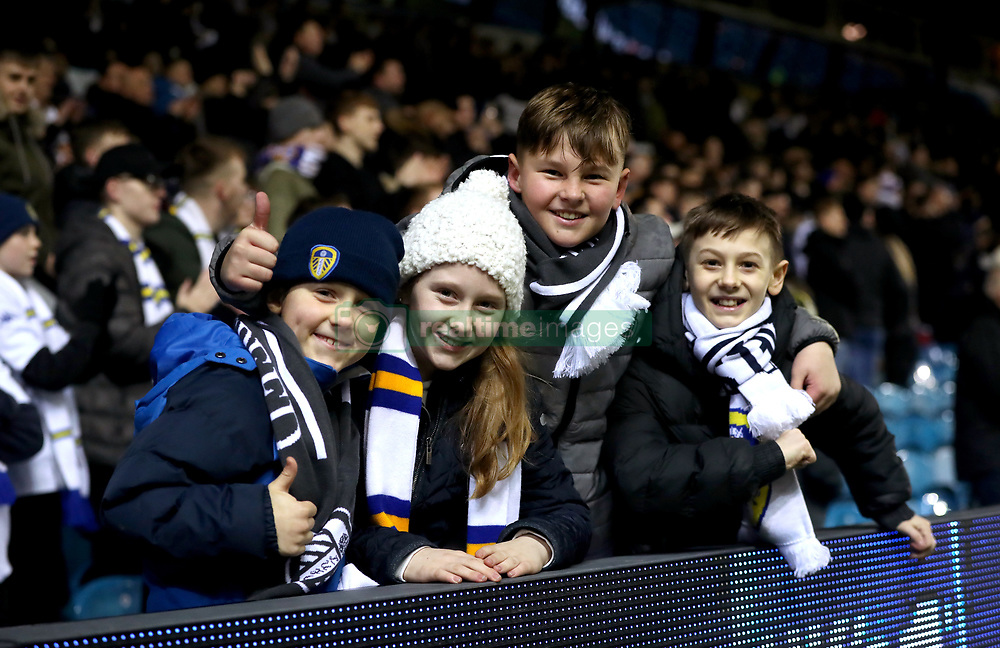 Young Leeds United fans in the stands during the Sky Bet Championship match at Elland Road, Leeds.