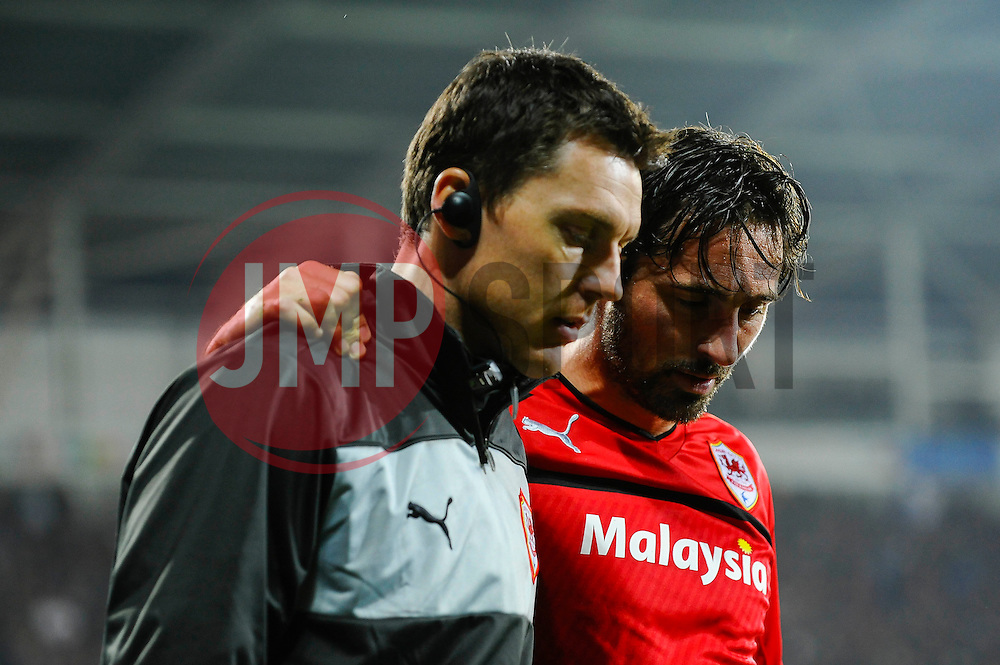 Cardiff Forward Tommy Smith (ENG) goes off injured during the second half of the match - Photo mandatory by-line: Rogan Thomson/JMP - Tel: Mobile: 07966 386802 23/10/2012 - SPORT - FOOTBALL - Cardiff City Stadium - Cardiff. Cardiff City v Watford - Football League Championship
