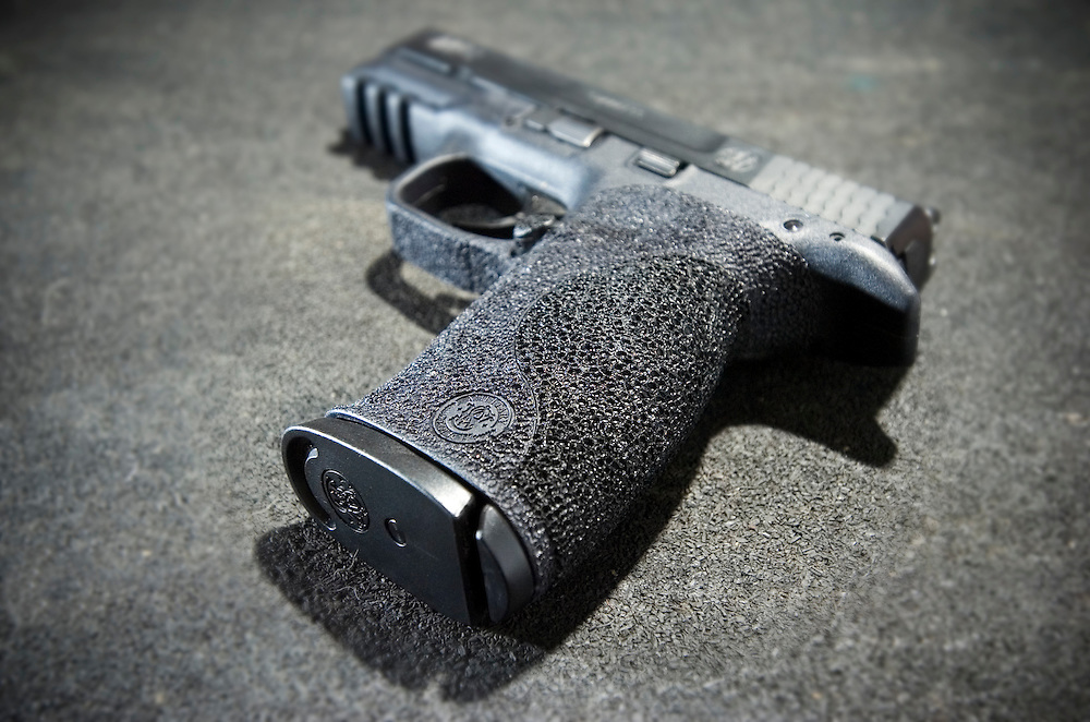 Smith & Wesson M&P 9mm shown with Galco IWB holster. Custom grip stippling by the author.