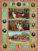 Victoria (1819-1901) queen of England and Ireland from 1837 and Empress of India from 1875. Victoria at her first meeting with her Privy Council (top); opening her first Parliament (centre); on way to last Parliament she opened in person. Oleograph 1887.