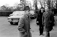 Brian Faulkner Ulster Unionist MP arriving Stormont Castle for leadership crisis cabinet meeting. May 1969. 19690500246<br /> Copyright Image from Victor Patterson, 54 Dorchester Park, <br /> Belfast, UK, BT9 6RJ<br /> <br /> t1: +44 28 9066 1296 (from Rep of Ireland 048 9066 1296)<br /> t2: +44 28 9002 2446 (from Rep of Ireland 048 9002 2446)<br /> m: +44 7802 353836<br /> <br /> e1: victorpatterson@me.com<br /> e2: victorpatterson@gmail.com<br /> <br /> www.victorpatterson.com<br /> <br /> Please see my Terms and Conditions of Use at VICTORPATTERSON.COM. It is IMPORTANT that you familiarise yourself with them.<br /> <br /> Images used on the Internet must be visibly watermarked i.e. ©VICTORPATTERSON.COM within the body of the image and copyright metadata must not be deleted. Images used on the Internet have a size restriction of 4kbs and are chargeable at the then current NUJ rates.<br /> <br /> This image is only available for the use of the download recipient i.e. television station, newspaper, magazine, book publisher, etc, and must not be passed on to any third party. It is also downloaded on condition that each and every usage is notified within 7 days to victorpatterson@me.com<br /> <br /> The right of Victor Patterson to be identified as the author is asserted in accordance with The Copyright Designs And Patents Act (1988).