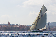 "FRANCE, St Tropez. 6th October 2012. Voiles de St Tropez. 15-metre class, D1 ""Mariska"" built in 1908. Designed by William Fife III."