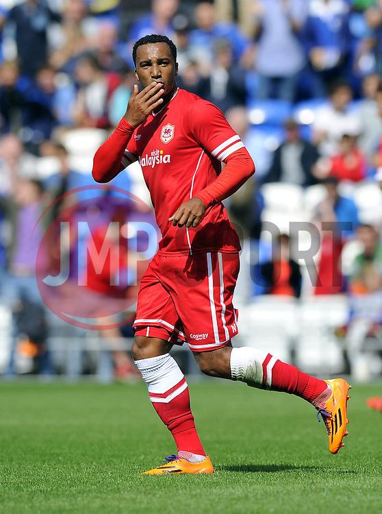 Cardiff City's Nicky Maynard  celebrates his goal - Photo mandatory by-line: Joe Meredith/JMP - Mobile: 07966 386802 02/08/2014 - SPORT - FOOTBALL - Cardiff - Cardiff City Stadium - Cardiff City v VfL Wolfsburg - Pre-Season Friendly