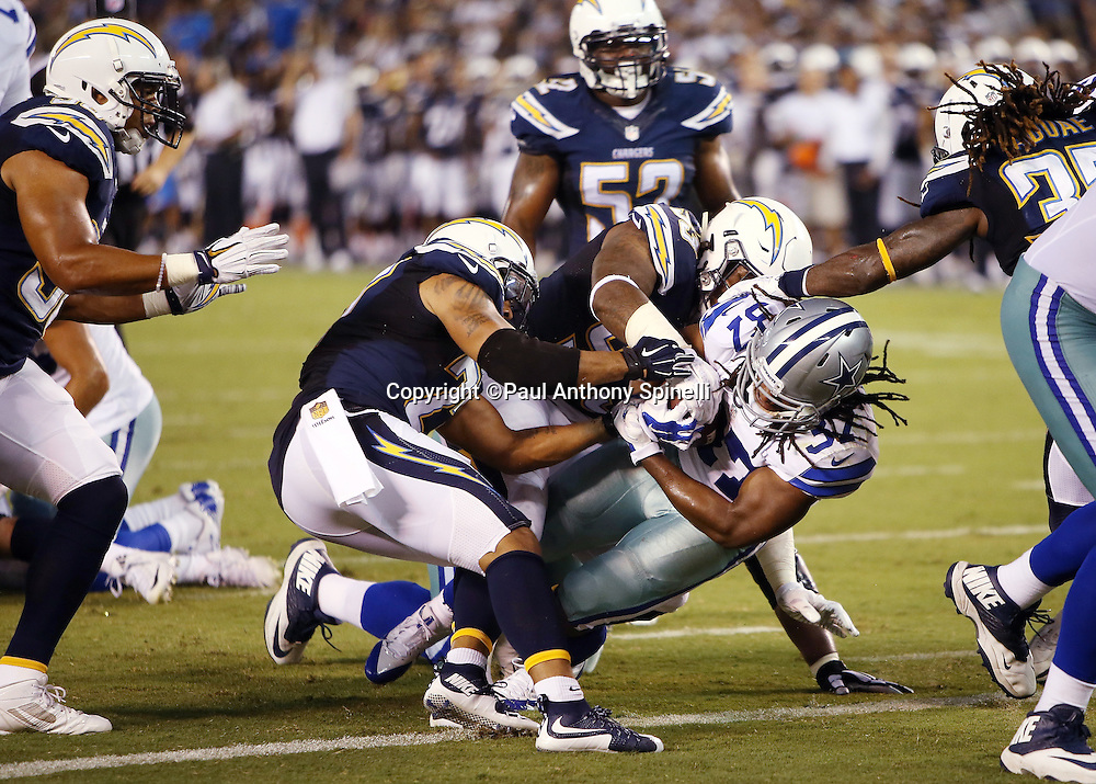 Dallas Cowboys running back Gus Johnson (37) runs for a 5 yard touchdown that ties the score at 7-7 in the second quarter during the 2015 NFL preseason football game against the San Diego Chargers on Thursday, Aug. 13, 2015 in San Diego. The Chargers won the game 17-7. (©Paul Anthony Spinelli)