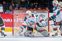 KELOWNA, CANADA - MARCH 4: Brodan Salmond #31 of the Kelowna Rockets defends the net against the Tri-City Americans on March 4, 2017 at Prospera Place in Kelowna, British Columbia, Canada.  (Photo by Marissa Baecker/Shoot the Breeze)  *** Local Caption ***