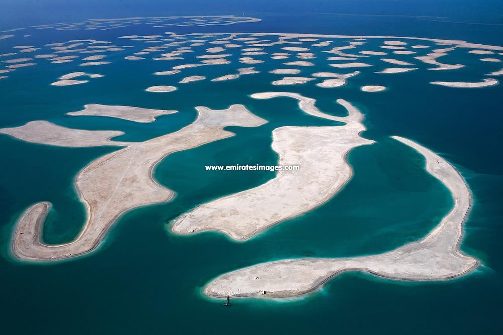 Aerial photo of The World manmade islands off the coast of Dubai