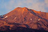 The summit of Mount Shasta volcano at sunset, Cascade Range, Siskiyou County, California