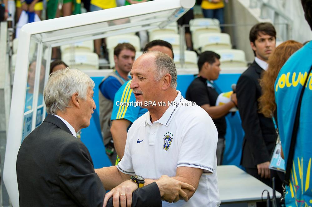 Jose Nestor Pekerman Krimen Coach (Colombia) Luiz Felipe Scolari Coach (Brazil)                  ; <br /> July 04; 2014 - Football : Fifa World Cup Brazil  2014; Match 57; final match between Brazil 2-1 Colombia  at<br /> Estadio Castelao; Fortaleza, Brazil.;  ;( photo by aicfoto)(ITALY) [0855]