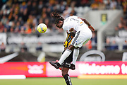 GOTHENBURG, SWEDEN - APRIL 14: Kebba Ceesay of Dalkurd FF shoots a header during the Allsvenskan match between BK Hacken and Dalkurd FF at Bravida Arena on April 14, 2018 in Gothenburg, Sweden. Photo by Nils Petter Nilsson/Ombrello ***BETALBILD***