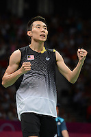 Lee Chong Wei, Malaysia, Beating Cheng Long, China 21-13 21-14 to reach the Mens Snigles Final, Olympic Badminton London Wembley 2012